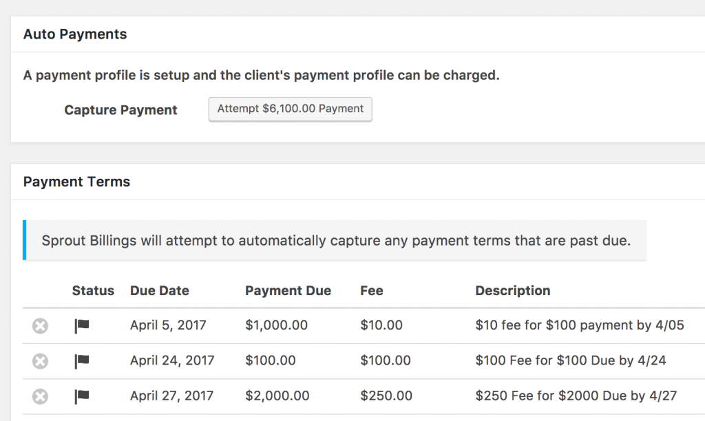 Sprout Billings and Payment Terms & Scheduling