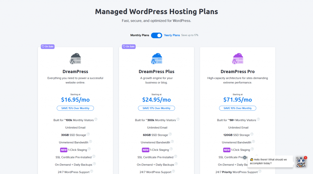 DreamHost's DreamPress Managed WordPress Hosting Plans