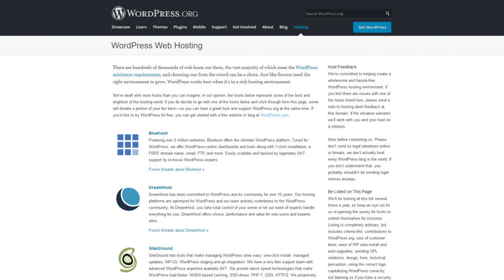 DreamHost is on WordPress.org as a recommended web host