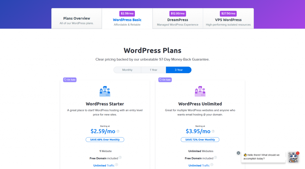 DreamHost's Basic WordPress Hosting Plans