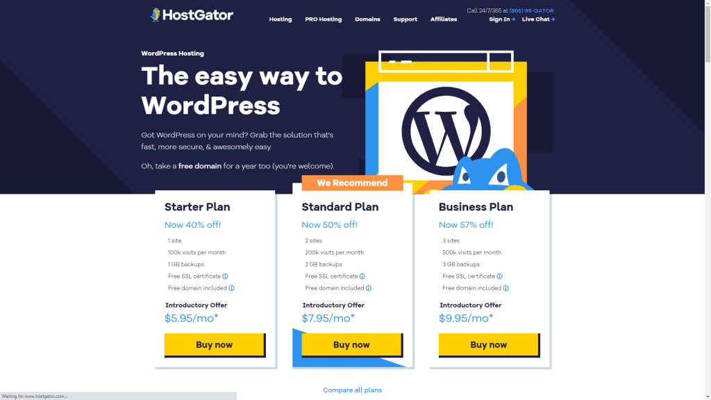 HostGator's WordPress Hosting plans