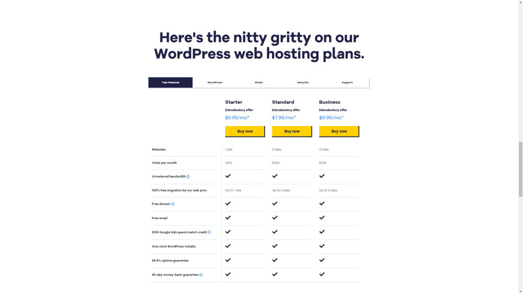 Detailed pricing for HostGator's WordPress hosting