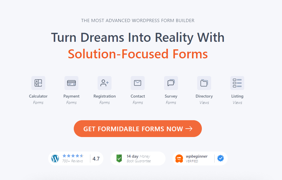 Formidible Forms WordPress Form