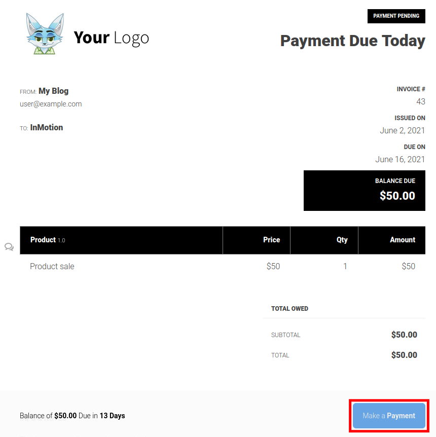Sprout Invoices - Make a payment button