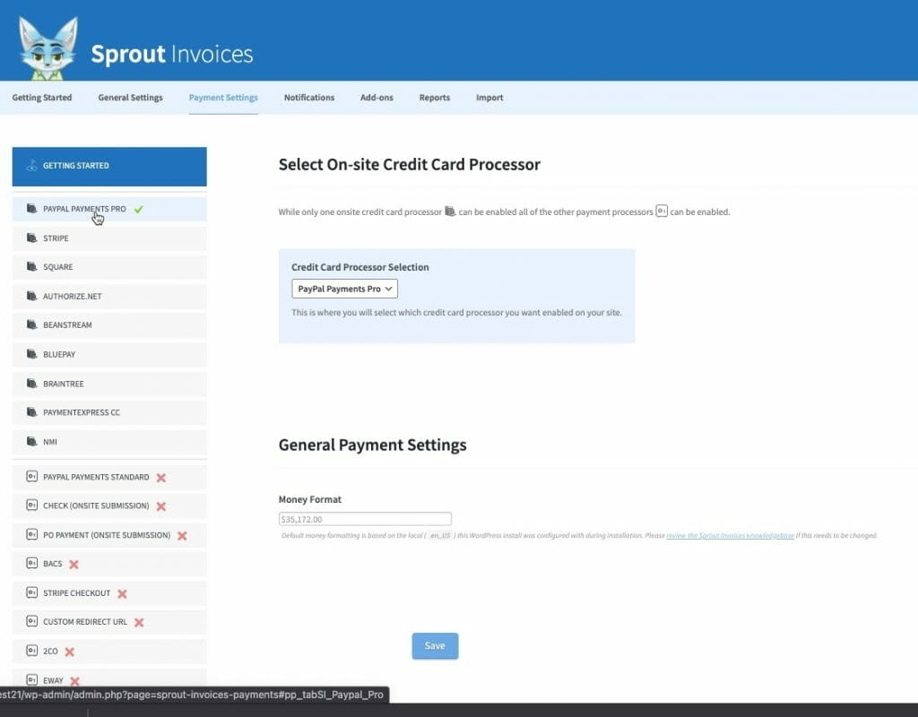 sprout weforms integration payment processor selection