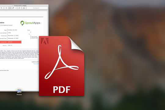 Image of PDF logo and invoice